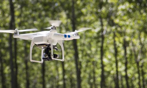 UAV drone flying outdoor.